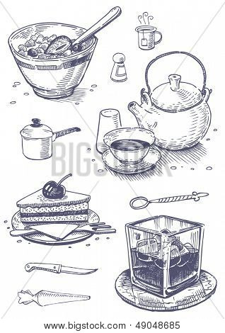 Vintage set of food and kitchen utensils