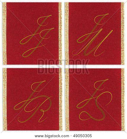 Collection of textile monograms design on a ribbon. JJ; JM;  JR; JS
