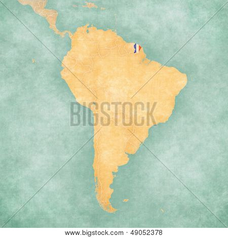 Map Of South America - French Guiana (vintage Series)
