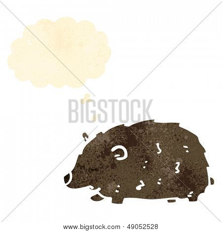 cartoon wombat with thought bubble