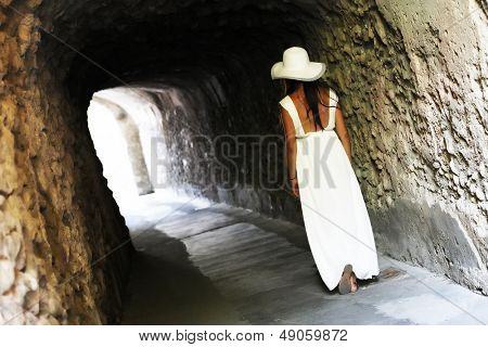 Young girl walking in Ravello, Italy, Europe