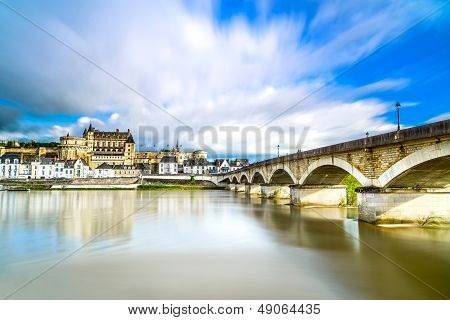 Amboise, Village, Bridge And Medieval Castle. Loire Valley, France