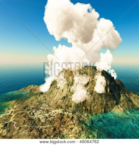 Erupção vulcânica na ilha