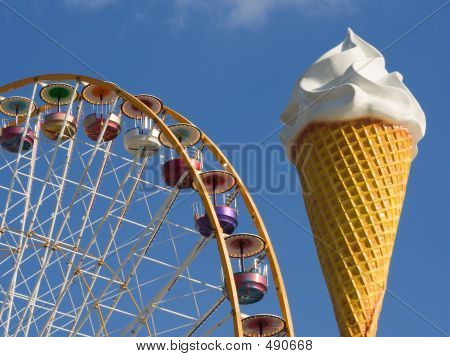 Ferris Wheel And Ice Cream Cone
