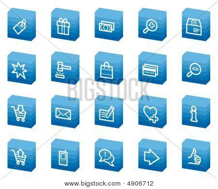 Compras Web iconos, serie de la caja azul