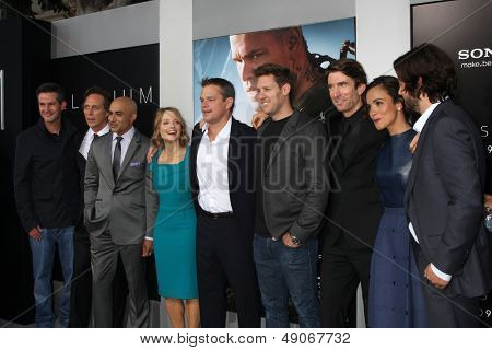 LOS ANGELES-AUG 7: S Kinberg, W Fichtner, Faran Tahir, J Foster, Matt Damon, N Blomkamp, S Copley, Alice Braga, D Luna arrive at the