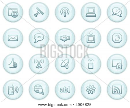 Internet Communication Web Icons, Light Blue Circle Buttons Series