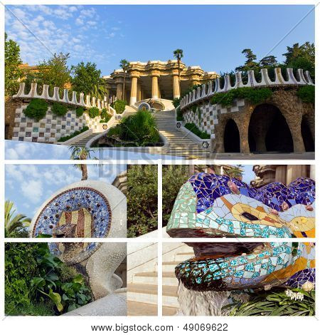 The Park Guell In Barcelona. Spain
