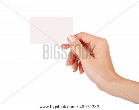 Female Hand With A Blank Card