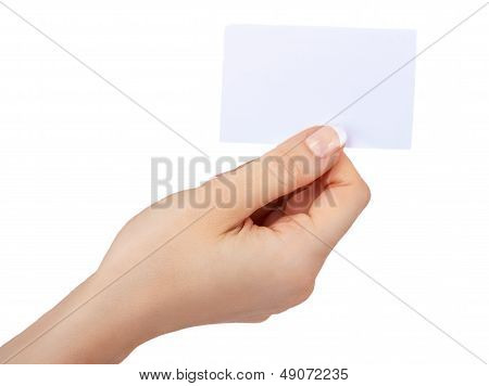 Hand With A Blank Card Isolated