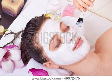 beautiful Woman Getting Facial Mask