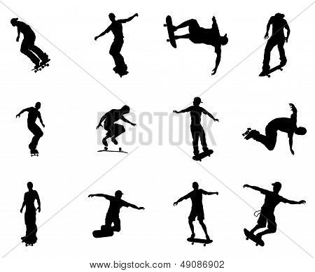 Silhouette Outlines Of Skating Skateboarders
