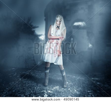 Sexy Woman Zombie Stands In Ruins