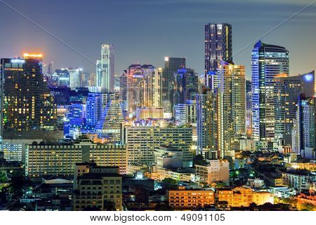 Aerial view of Bangkok downtown Skyline at night