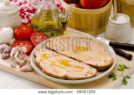 Spanish Cuisine. Tomato Bread. Pa Amb Tomaquet.