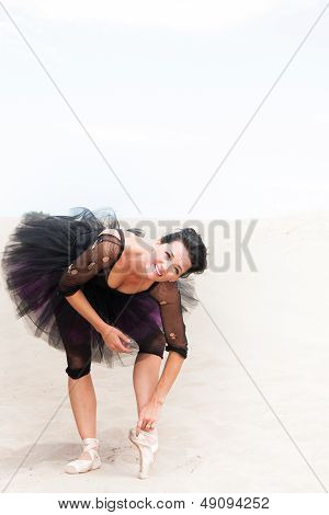 Ballerina Bending And Stretching