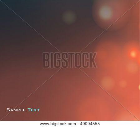 Beautiful Lighting Night Unfocused In Red. Vector Illustration.