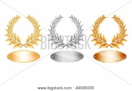 Gold Silver And Bronze Laurel Wreath And Label