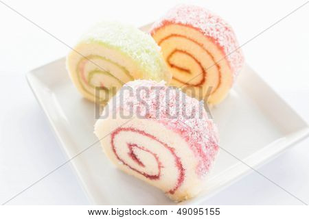 Colorful Jam Roll Cakes  On The Dish