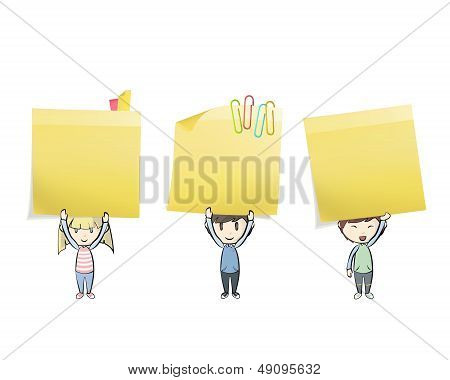 Group Of Kids Holding Yellow stick. Vector Design