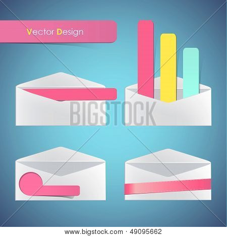 Set Of Open Envelope. Vector Design.