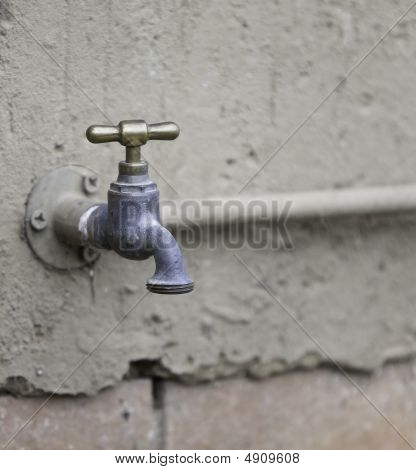 Brass Tap On Wall