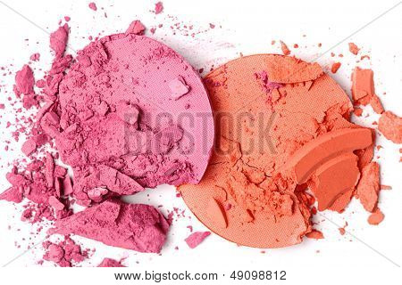 Crushed blush isolated on white