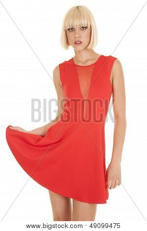 Woman Swish Red Dress Serious