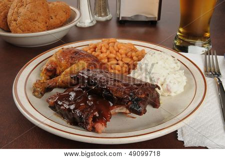Barbecue Chicken And Ribs