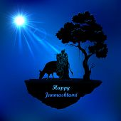 image of krishna  - illustration of Radha and Krishna in Janmasthami night - JPG