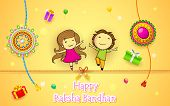 illustration of brother and sister with rakhi on Raksha Bandhan