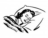Sleeping Woman - Retro Clip Art Illustration