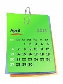 Calendar For April 2014 On Colorful Sticky Notes Attached With Metallic Clip