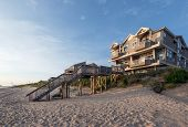 stock photo of beach-house  - Image of a beach house on the Chesapeake Bay - JPG