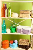 stock photo of armoire  - Beautiful white shelves with different home related objects - JPG