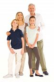 image of niece  - young grandmother and grandfather with nephew and niece standing on white background - JPG