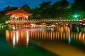 foto of gazebo  - Nice japanese wooden gazebo is shortly after the sunset reflecting in the water - JPG