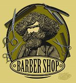 stock photo of razor  - Vector illustration of vintage barber shop sign board with bearded man - JPG