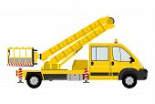 stock photo of cherry-picker  - Silhouette of a light cherry picker on a white background - JPG