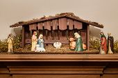 pic of manger  - Nativity scene or creche with a stable and manger - JPG