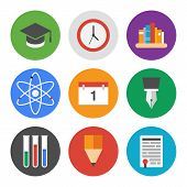 stock photo of atom  - Collection of colorful vector icons in modern flat design style on knowledge and education theme - JPG