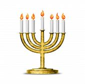 stock photo of hanukkah  - Hanukkah candles all candle lite on the traditional Hanukkah menorah - JPG
