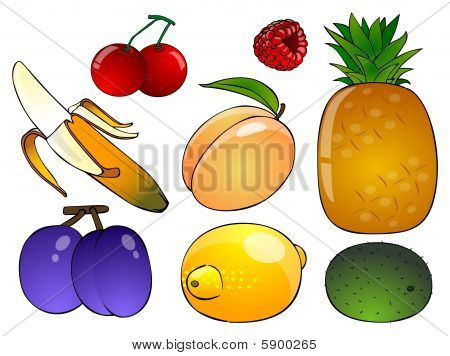 Six Cartoon Fruit On A White Background