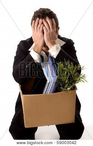 Messy Business Man With Cardboard Box Fired From Job