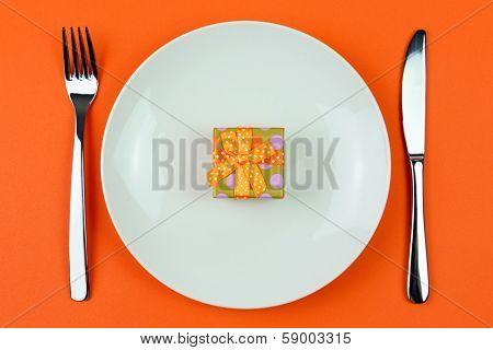 Gift Box In A Plate