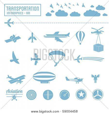 Transportation icons set - air infographic symbols & design elements