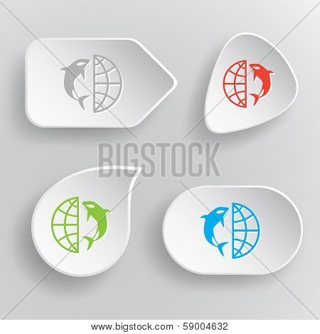 Globe and whale. White flat raster buttons on gray background.