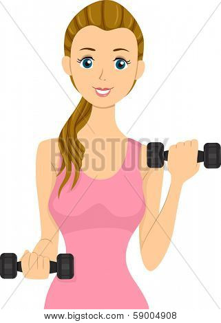 Illustration of a Girl Lifting Dumbbells