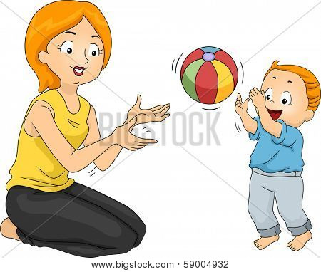 Illustration of a Mother Playing with Her Son