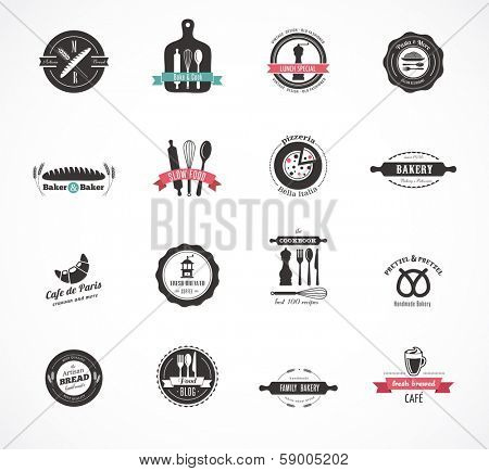 Set of vintage restaurant and food badges labels and icons